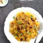 Spaghetti Squash Pasta with Sundried Tomato, Garlic & Basil. Light Dinner with no Grains. Add some spiced chickpeas or baked tofu for variation. #Vegan #Glutenfree Soy-free #Recipe #veganricha | VeganRicha.com
