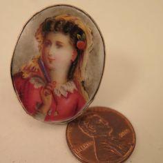 Antique Sterling Silver Porcelain Portrait Ring