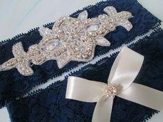 Navy Blue Lace Garter Set Rhinestone Bling by GibsonGirlGarters