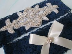 Navy Blue Lace Garter Set Rhinestone Bling by GibsonGirlGarters