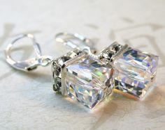 Wedding Crystal Earrings, Sterling Silver, Swarovski Elements, Cube, Rhinestone, Bridal, Bridesmaid, Handmade Jewelry