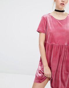 Image 3 of Reclaimed Vintage Smock Dress In Velvet