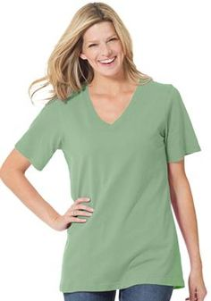 Top, in soft knit, the Perfect cotton V-neck tee | Plus Size Short Sleeve | Woman Within