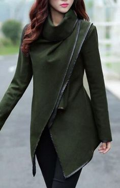 Khaki Olive Green and Black Irregular Long Sleeve Tweed Winter Trench Coat | #DriedHerb #FusionBeadsColorOfTheMonthChallenge