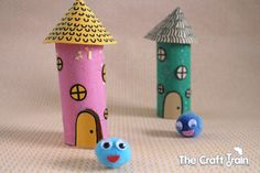Pom pom pets in toilet roll houses. the craft train. Toilet Roll Craft, Toilet Paper Roll Crafts, Roll House, Cute Crafts, Diy Crafts, School Age Activities, Wood Repair, Kids Clay, Holiday Club