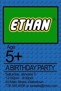 Very cute...    lego birthday party invitation: PRINTABLE. $10.00, via Etsy.