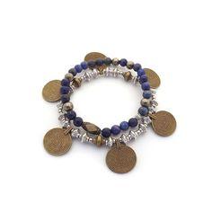 Duo de bracelets pour femme WellDunn Lapis 31,00$ Médaillons - billes tibétaines - pierre de lapis  lazuli - pyrite