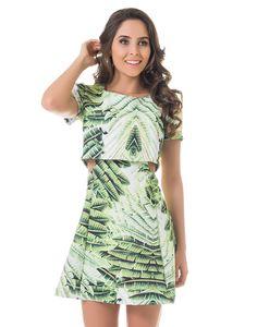 Vestido Estampa Rotativa com Recorte nas Laterais Palm - Lez a Lez