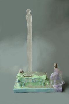 Christina Bothwell , Departure  - cast glass, raku clay and oil paint, 25 x 17 x 6 inches