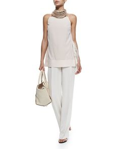 -5HTJ Brunello Cucinelli Strapped Tank W/ Ostrich Feather Sides & Wide-Leg Pleated Crepe Pants