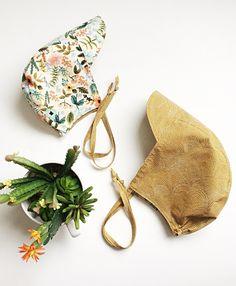 months, Reversible Half Brim Bonnet, Rifle Paper Co Herb/Mustard by babyBbasic on Etsy Rifle Paper Co, Alpaca Wool, Herb, Mustard, Sun, Fabric, Handmade, Etsy, Tejido