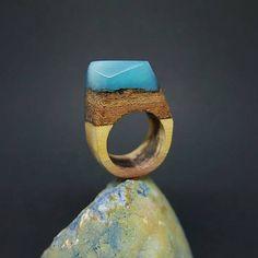 Drevený prsteň: Nebo a zem / ForestDreamer - SAShE. Nebo, Wooden Rings, Gemstone Rings, Gemstones, Jewelry, Wood Rings, Jewlery, Gems, Jewerly