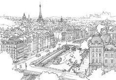 paris city line drawing cityscape illustration