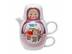 Tea set (Zhostovo Painting - Matryoshka)| Official Olympic Shop