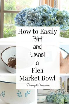 How to Easily Paint and Stencil a Flea Market Bowl. Give a rusted enamel farmhouse bowl a new farmhouse look with paint and stencils. Easy paint project. #paintproject #fleamarketfind #farmhouseaccessory #diyproject #blueskkyathome