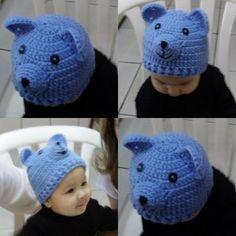 gorro de tricô ursinho para bebê