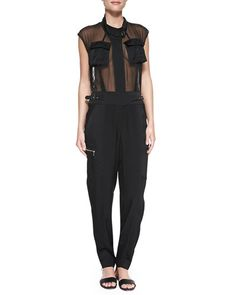 Crepe Utility Jumpsuit, Black