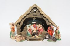 Vintage Christmas Nativity Creche Set - Japan Figurines Cardboard Stable