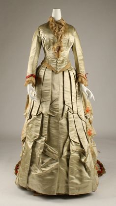Dress, Charles Frederick Worth (French (born England), Bourne 1825–1895 Paris) for the House of Worth (French, 1858–1956): ca. 1875-1876, French, silk, trims.