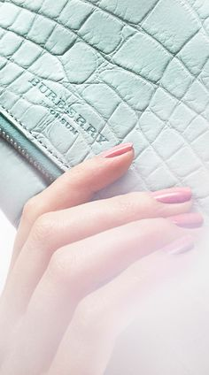 Turquoise #clutch, Rose Pink nail polish from #Burberry Nails for Spring/Summer 2014 #LFW #pastel