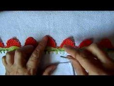 Bico em croche com morangos - PARA CANHOTO - YouTube