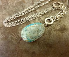 Blue Opal gemstone necklace statement necklace sterling by anakim, $148.00