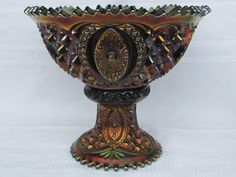 """Carnival Glass: """"Memphis"""" Northwood punch bowl in purple."""