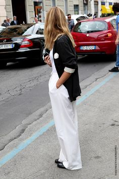 blazer with a wide leg pant