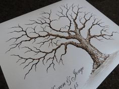 (HAND PAINTED BIRDS AVAILABLE AT AN ADDITIONAL PRICE)  A UNIQUE ALTERNATIVE TO THE TRADITIONAL GUEST BOOK! Instead of signing a guestbook, your guests fill your tree with leaf thumbprints and signatures, creating a lasting keepsake that will be a beautiful daily reminder of your special day and those who shared it with you. LARGE BROWN HEART OAK TREE : This listing is for a LARGE BROWN HEART OAK Thumbprint tree: 24x18 inches - Giclée Print of my Original Painting - Printed with the finest…