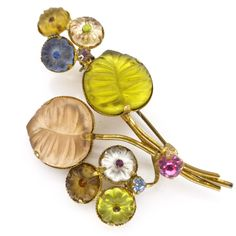Vintage 1950s Frosted Mirror Glass Floral Gold Tone Pin Brooch | Clarice Jewellery | Vintage Costume Jewellery