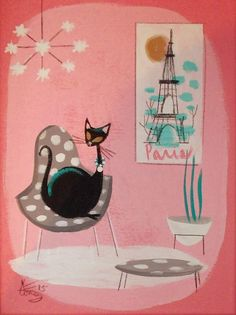 EL GATO GOMEZ PAINTING RETRO KITSCHY 1950S MID CENTURY MODERN PARIS FRENCH CAT #Modernism