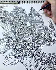 Guide to the very best lodges and steps to do in The city of london. Maps, journey ideas and even more. Doodle Art Drawing, Pencil Art Drawings, Art Sketches, Cute Disney Drawings, Funny Drawings, London Drawing, Art Optical, Tibetan Art, Travel Drawing