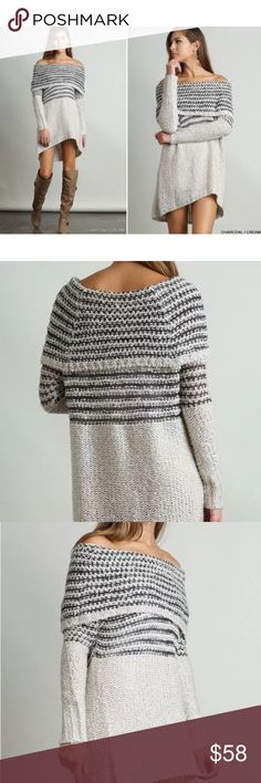 Cozy off the shoulder boho sweater Cozy off the shoulder boho sweater. Charcoal taupe knit tunic dress.  Fit and Feel: Brand new tunic sweater dress. On or off shoulder, long sleeves and gorgeous sweater knit fabric. So soft and cozy, perfect for fall or winter. Cream/taupe color just added!  Fabric: 55% Cotton 45% Polyester. Please refer to size chart. Comes in s,m and large Dresses Mini