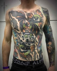 neo-traditional tattoo on full torso