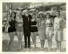 Mack Sennett Bathing Beauties -- 1928 L-R Sathryn Stanley, Leota Winters, LM Cobbs (Portland Manager), Madeline Hurlock, Carold Lombard, marie Pergain  & Nancy Cornelius - thanks to Marylouise M for the extra IDs on this photo