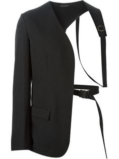 Black wool asymmetric harness blazer from Yohji Yamamoto featuring a collarless design, a front flap pocket, long sleeves and button cuffs.