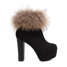Faux Fur Platform Black High Heel Boots (345 EGP) ❤ liked on Polyvore featuring shoes, boots, high heel shoes, kohl boots, platform boots, black shoes and black boots