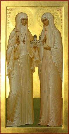 The Orthodox New Martyrs St Grand Duchess Elizabeth and St Sister Barbara icon Orthodox Catholic, Russian Orthodox, Catholic Saints, Patron Saints, Religious Icons, Religious Images, Religious Art, Saint Lazarus, Grand Duc