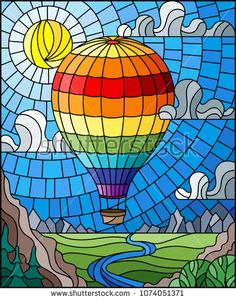 Illustration in stained glass style with a rainbow hot air balloon flying over a plain with a river on a background of mountains, cloudy sky and sun Stained Glass Rose, Stained Glass Quilt, Stained Glass Crafts, Stained Glass Designs, Stained Glass Patterns, Glass Painting Patterns, Glass Painting Designs, L'art Du Vitrail, Glas Art