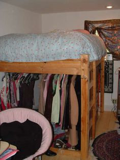 DIY loft bed - perfect to make a closet under since Liyah's room doesn't have one. Maybe add curtains or some covering to pretty up the closet area