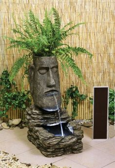 Solar Powered Easter Island Head Moai Resin Water Feature Planter with Light Indoor Water Fountains, Garden Fountains, Arte Bar, Garden Art, Garden Design, Head Planters, Solar Water, Easter Island, Water Features In The Garden