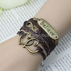 Браслет http://ru.highqualitybuy.com/pretty-charm-believe-infinity-heart-antique-bronze-faux-leather-wrap-bracelet-JW00628.html