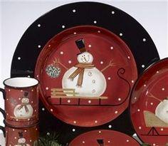 Sledding Snowman -Round Platter