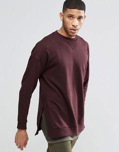 ASOS+Oversized+Sweatshirt+With+Stepped+Hem+In+Burgundy