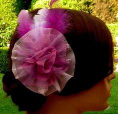 Festive hair flower hair clip in purple headdress by Schmucktruhe