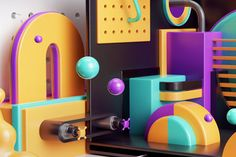 Peter Tarka on Behance Pinball, Isometric Shapes, 3d Collage, Graphic Design Humor, 3d Poster, Affinity Designer, Motion Design, 3d Design, Installation Art