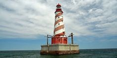 Michigan's only barber pole lighthouse can be found on the state's Save Our Lights license plates.