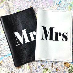 Mr & Mrs Personalized Leather Passport Cover Set, Wedding & Couples Passport Set