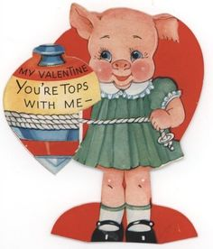 You're Tops - Hearts A Twirl - Vintage Valentine Cards from the early to mid 20th Century