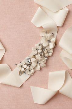 Cinquefoil Sash in Bride Bridal Accessories at BHLDN Wedding Sash, Bridal Sash, Wedding Veils, Bridal Accessories, Wedding Jewelry, Head Accessories, Bordados E Cia, Crystal Crown, Dress Sash